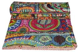 V Vedant Designs Indian Patch Work Cotton Kantha Quilt Twin