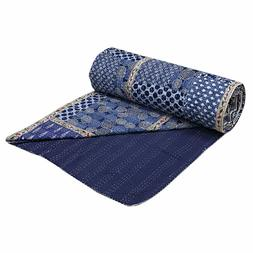 Indian Handmade Patchwork Queen Cotton Kantha Quilt Throw Bl