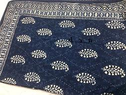 Indian Twin Single Bed Size Hand Blocked Indigo Blue bagru K