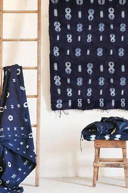 Indigo Tie Dye Tapestry Wall Hanging Mudcloth Sofa Throw,44i