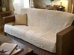 Irish Merino Wool Blanket Throw Aran Stitch Patchwork Patter