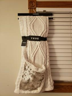 DKNY Ivory Chenille Cable KNIT Throw Blanket - Polyester 50x