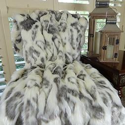 Thomas Collection ivory gray throw blanket, rabbit fur throw