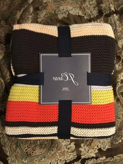 """J. CREW Home Multi-Color Striped Knit THROW Blanket 50"""" x"""