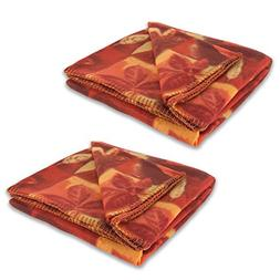 J&M Home Fashions Holiday Thanksgiving Printed Fleece Throw