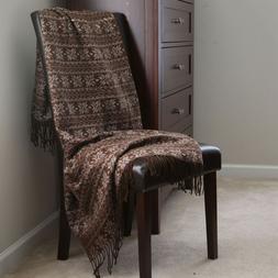 Lavish Home Jacquard Blanket Throw 50 x 60 - Brown