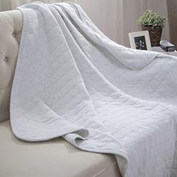 Bedsure Jersey Cotton Blanket Stretchy Soft Breathable Blank