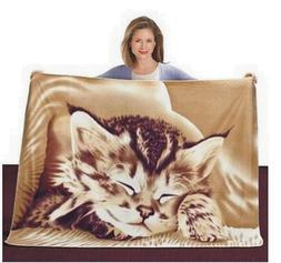 Kitten Plush Polyester Fleece Throw Kitty Cat Blanket 50x60
