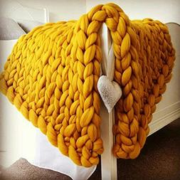 MEMORECOOL LIGHT UP YOUR HOME Knit Blanket Throw Yellow - Ba