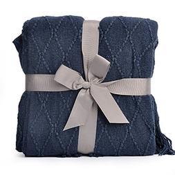 knit diamond pattern decorative throw