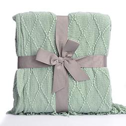 "battilo Knit Diamond Pattern Decorative Throw Blanket, 50"" W"