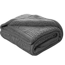 knit sherpa throw blanket dark