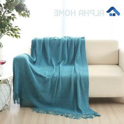 ALPHA HOME Knit Throw Blanket Warm & Cozy for Couch Sofa Bed