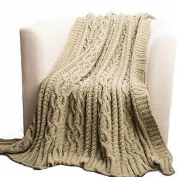Battilo Knitted Luxury Chenille Throw Blanket, Oversize, 51""