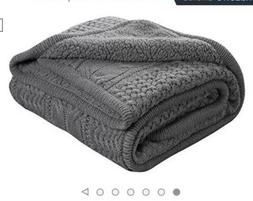 knitted sherpa throw blanket grey knit sherpa