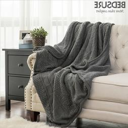 Bedsure Knitted Sherpa Throw Blanket Grey Knit-Sherpa Soft C