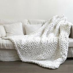 Knitted Throw Blanket Cozy for Sofa 20x20inch Microfiber COM