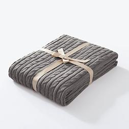 FBTS Basic Knitted Throw Blanket 51 x 67 Inch Grey Pure Cott