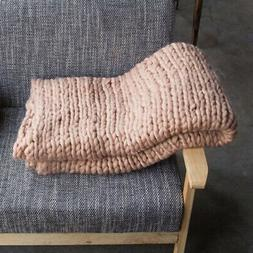 Knitted Tweed Throw Blanket Cozy Soft for Sofa Bed Chair Cov
