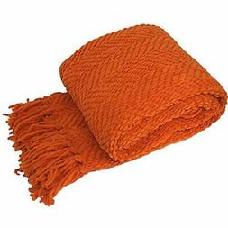 Knitted Tweed Throw Couch Cover Blanket, 50 X 60, Burnt Oran