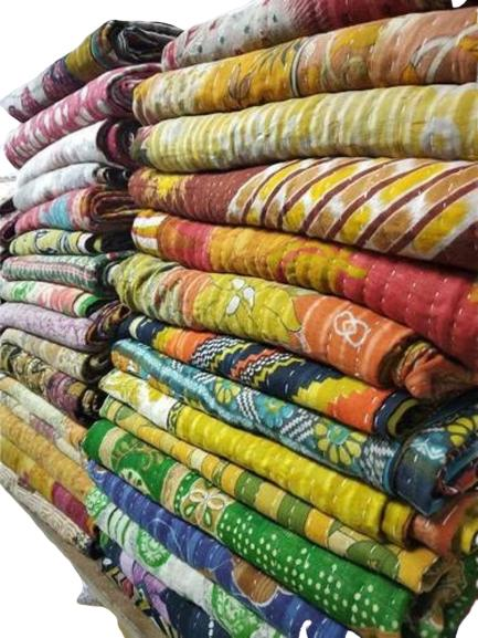 10 Pcs Vintage Kantha Quilt Handmade Throw Reversible Blanke