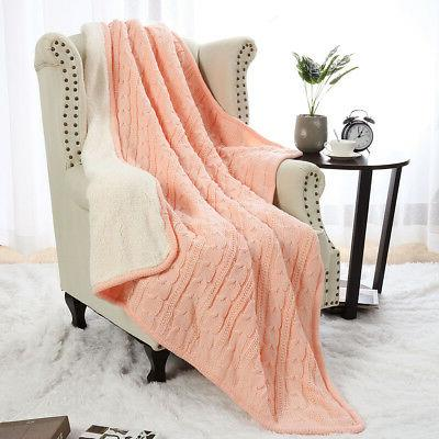 100% Cotton Blanket Soft Bed Home Knit