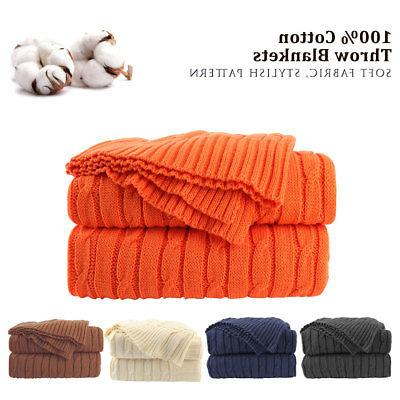 100% Cotton Knit Throw Blanket Soft Warm Cable Knitted Throw