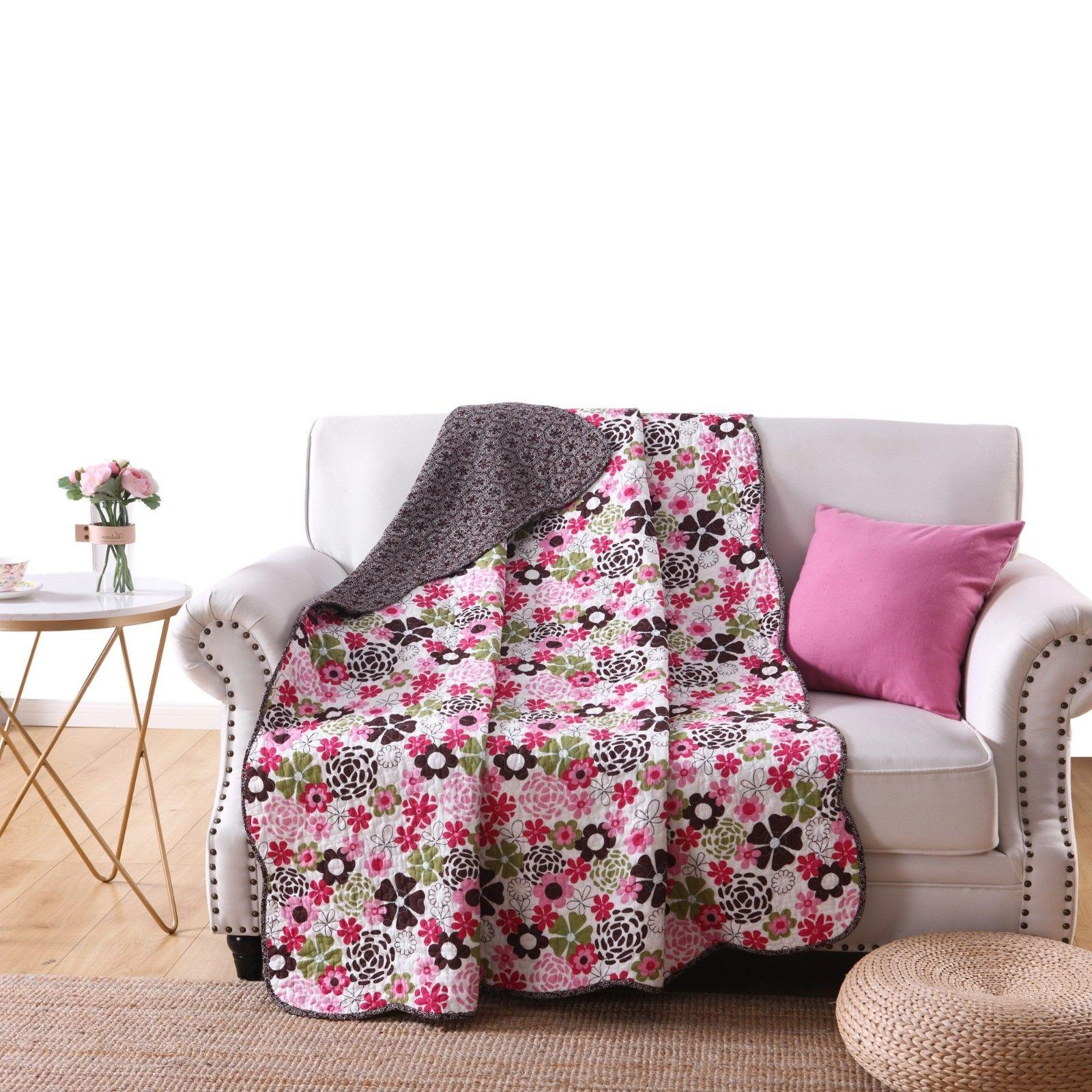 """100% Cotton Reversible 60"""" x 50""""  Quilt Throw Blanket, Cotto"""