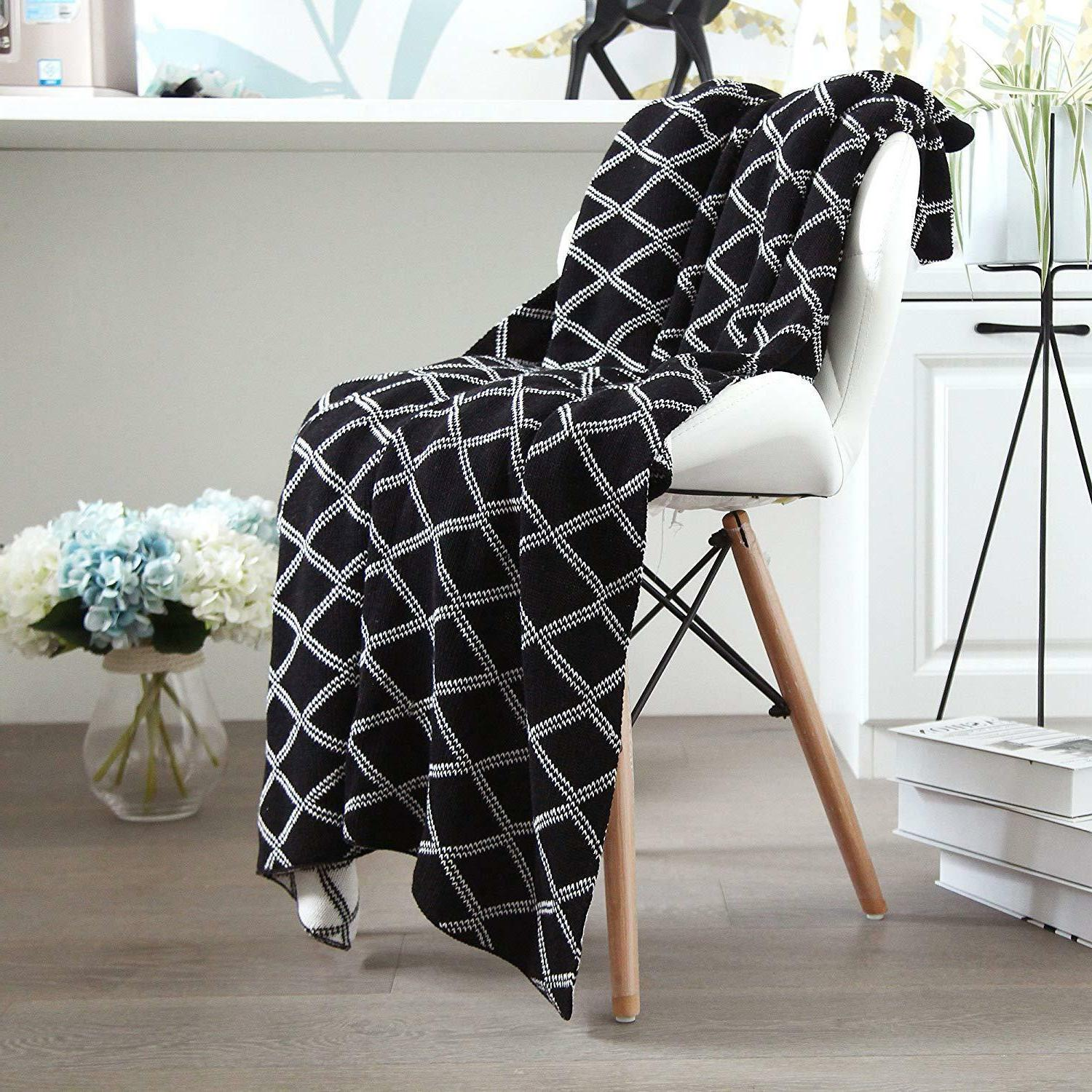 100% Organic Cable Knit Throw Blanket for Sofa