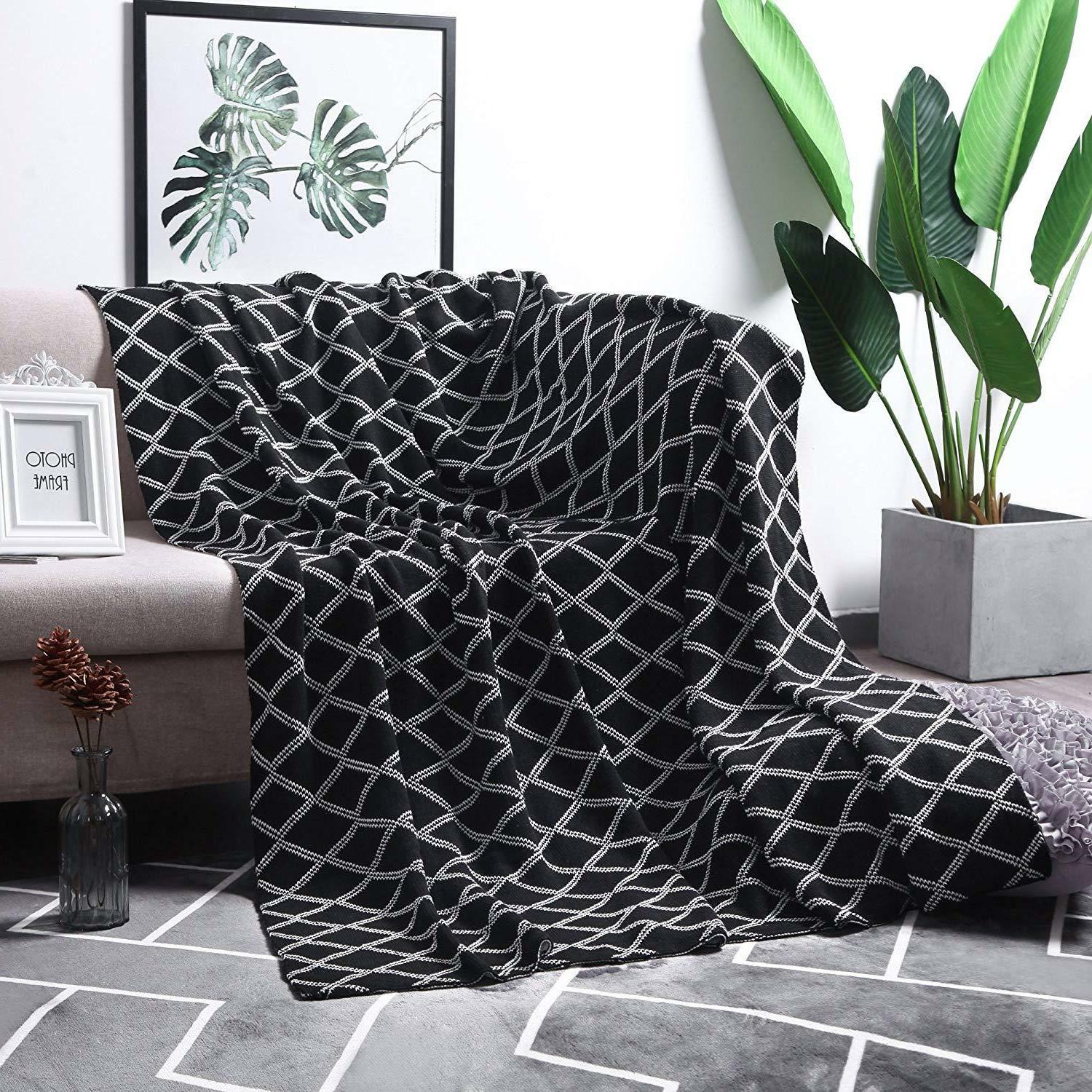 100% Organic Cotton Black Cable Knit Throw Blanket for Couch