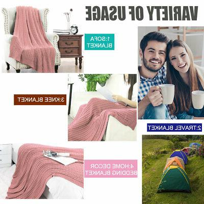 100% Blanket Warm Cable Knit Throw Home
