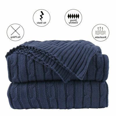 100% Cotton Knit Throw Blanket Soft Warm Knitted Throw