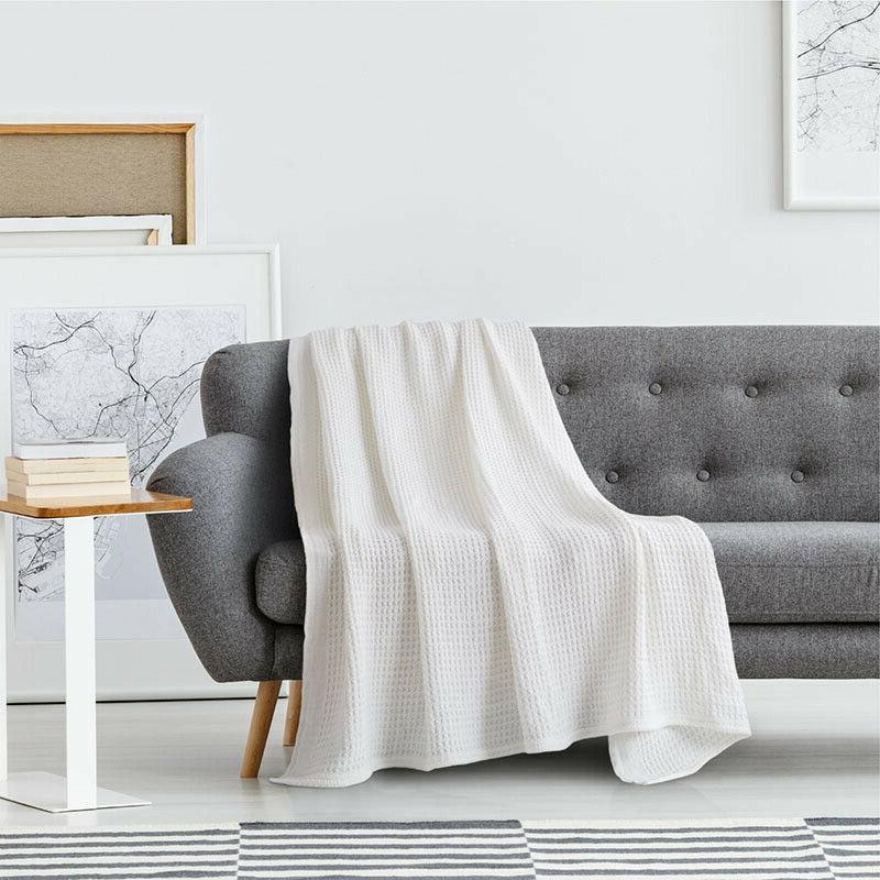 Blanket Throw Waffle Blankets Soft 405GSM