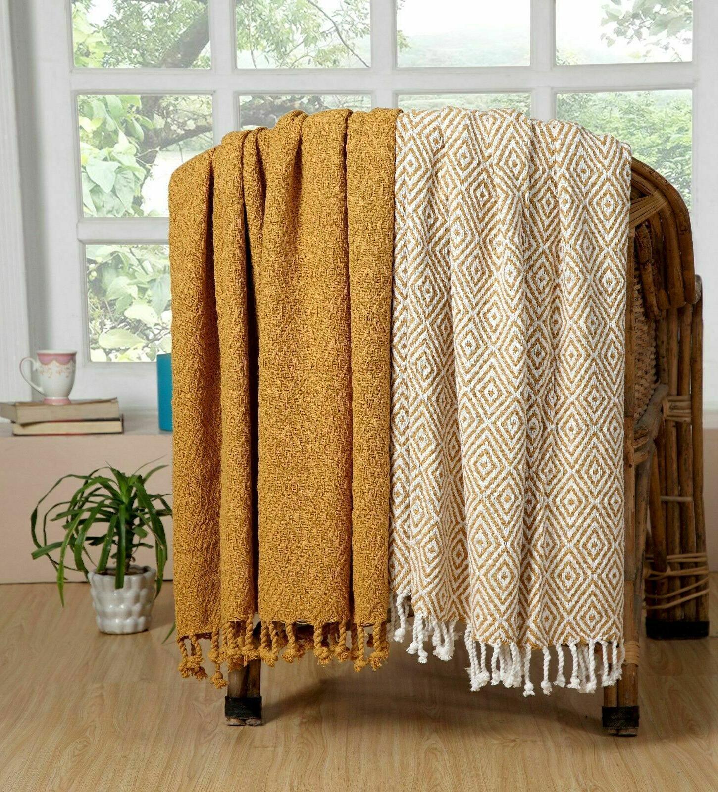 100% Woven Throw Blanket Couch Sofa Throw Indoor/Outdoor