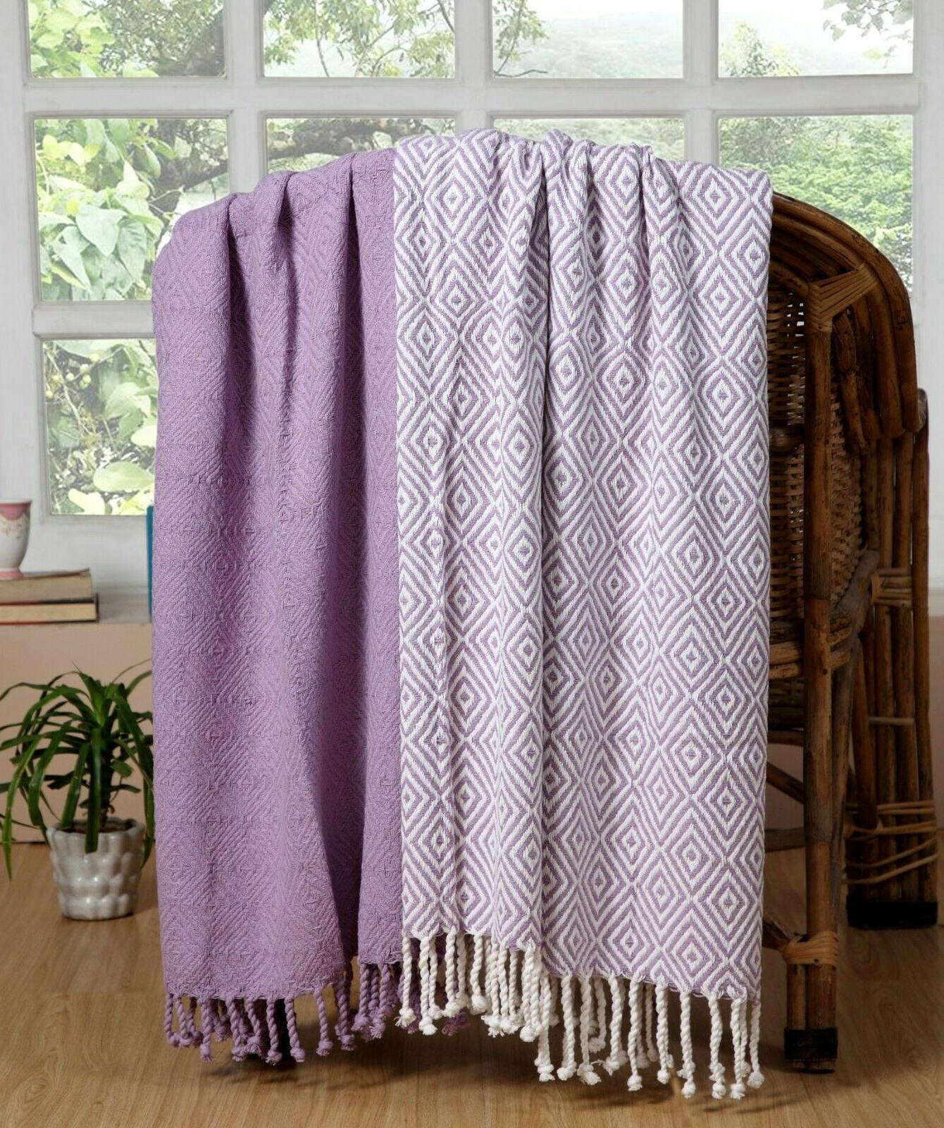 Luxurious Cotton Season Throw Blanket Diamond 2