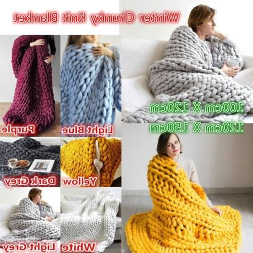 120*150cm Throw Wool Thick Line Yarn Decor New