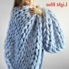 120*150cm Hand Chunky Knitted Blanket Thick Yarn Merino Wool