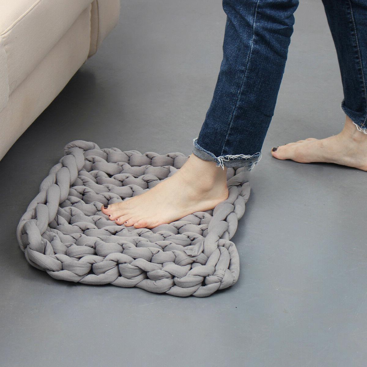 20x20in Handmade Blanket Throw Bathroom Rug