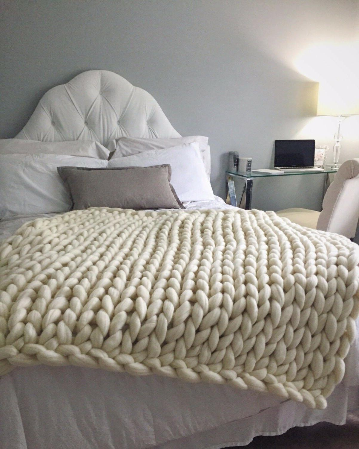 30 x 50in, US Top Quality Merino Wool Chunky Knit Blanket, H