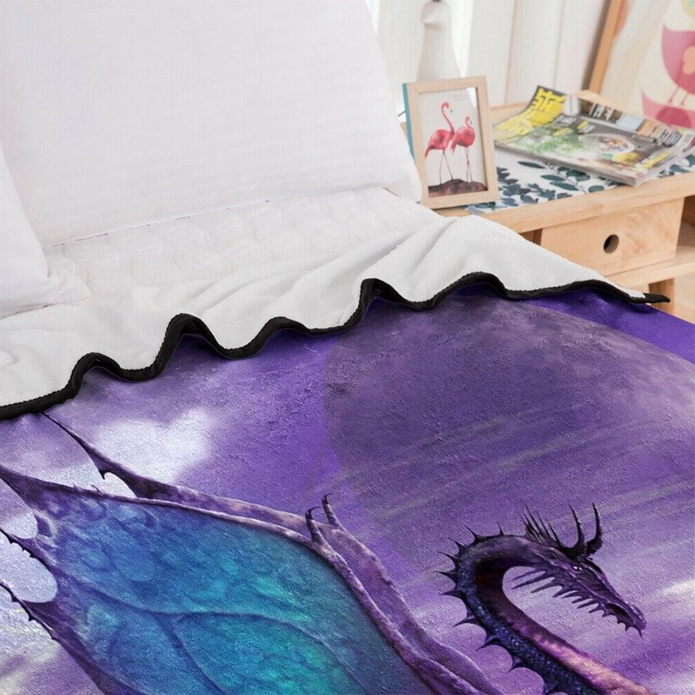 3D Purple Animal Soft Throw Cover