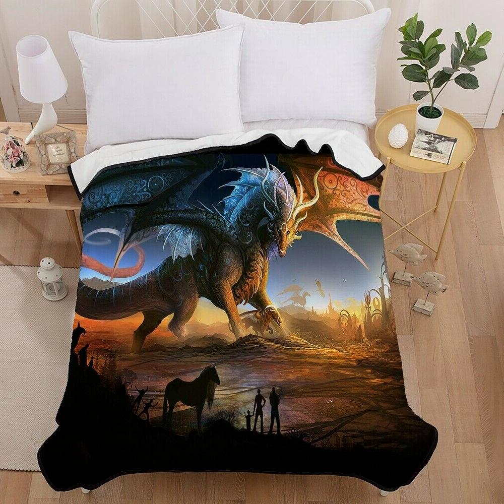 3D Dragon Throw Blanket Sofa Quilt
