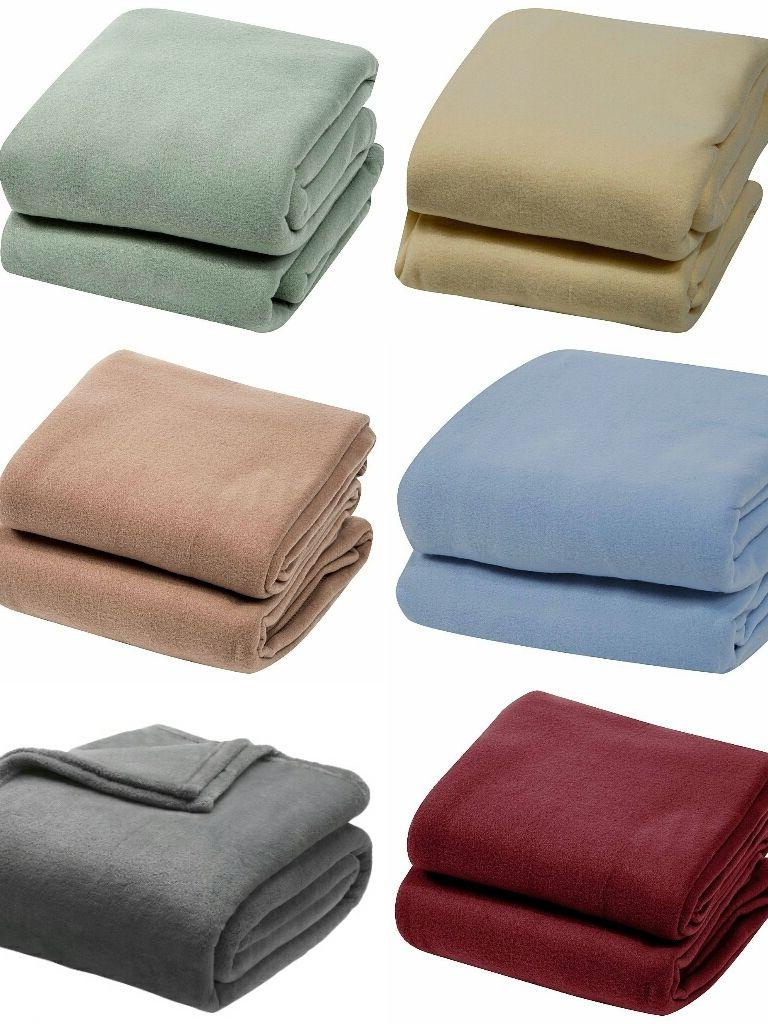 4 SIZES 6 COLORS! Super Soft Plush Blanket Solid Throw- Twin