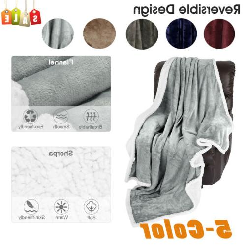 5 color 60x80 flannel sherpa throw blanket