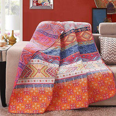 50*60inch 100% Cotton Multicolored Boho Stripe Quilted Throw