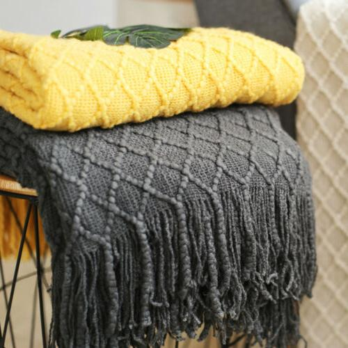 Knitted Throw Blanket Solid Soft Cover w/