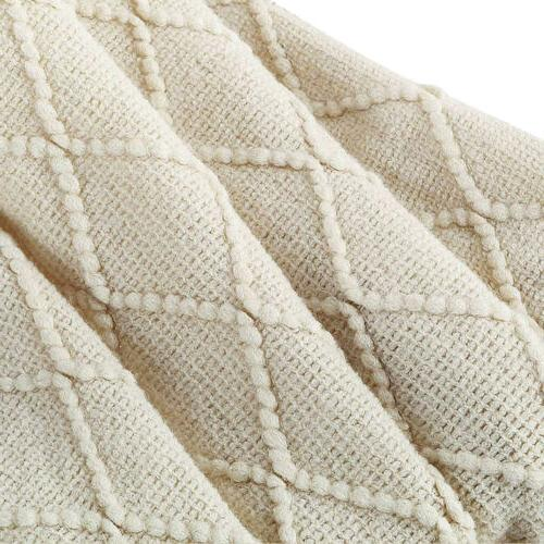 "Knitted Throw Textured Solid Sofa Cover 50"" w/ Fringe"