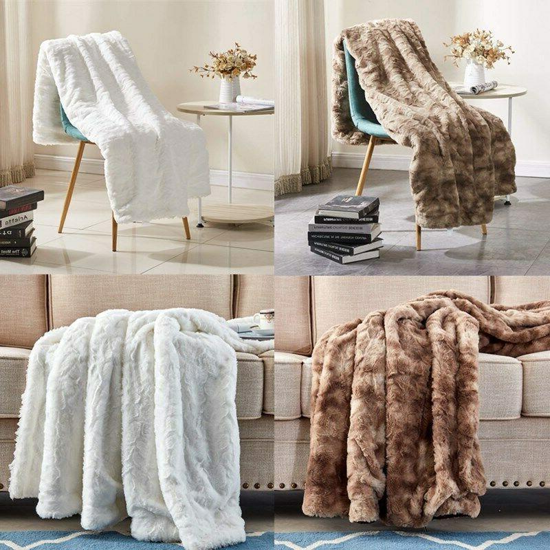 "50"" x 60"" Super Soft Bed Throw Blanket Fuzzy Cozy Warm Faux"