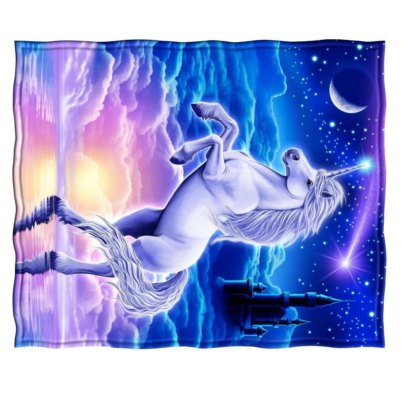 "50""x Throw Soft Warm Unicorn Style Soft Blankets"