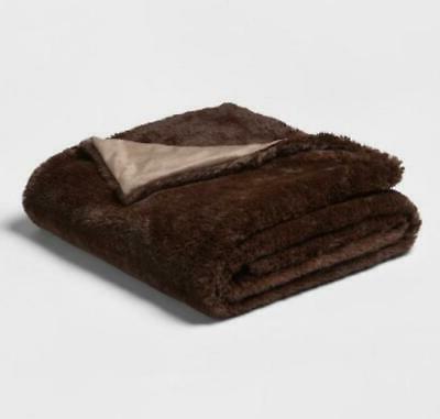 50 x80 faux fur throw blanket brown