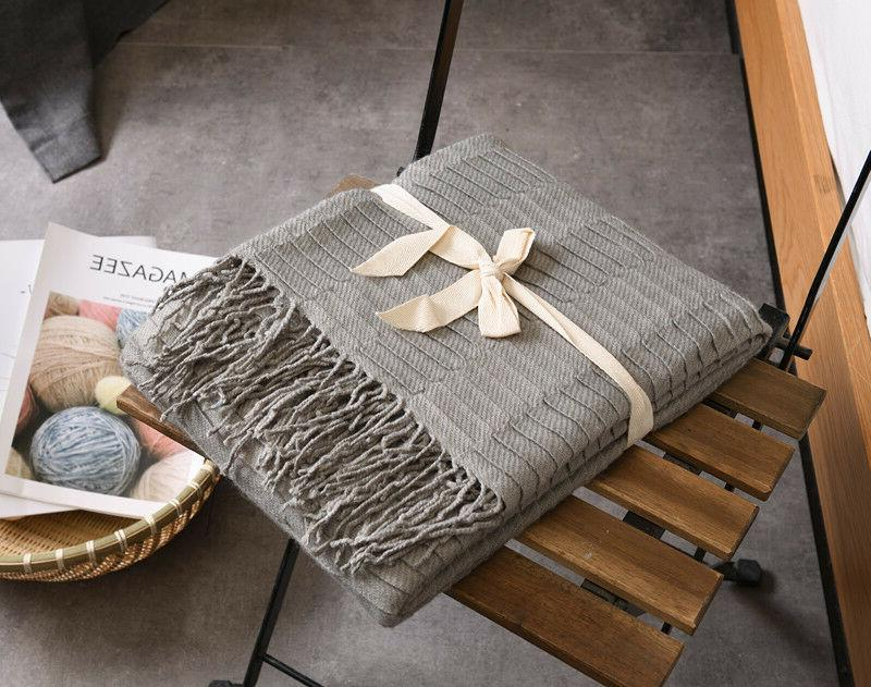 51x67 Knitted Blanket Bed Decorative Waffle